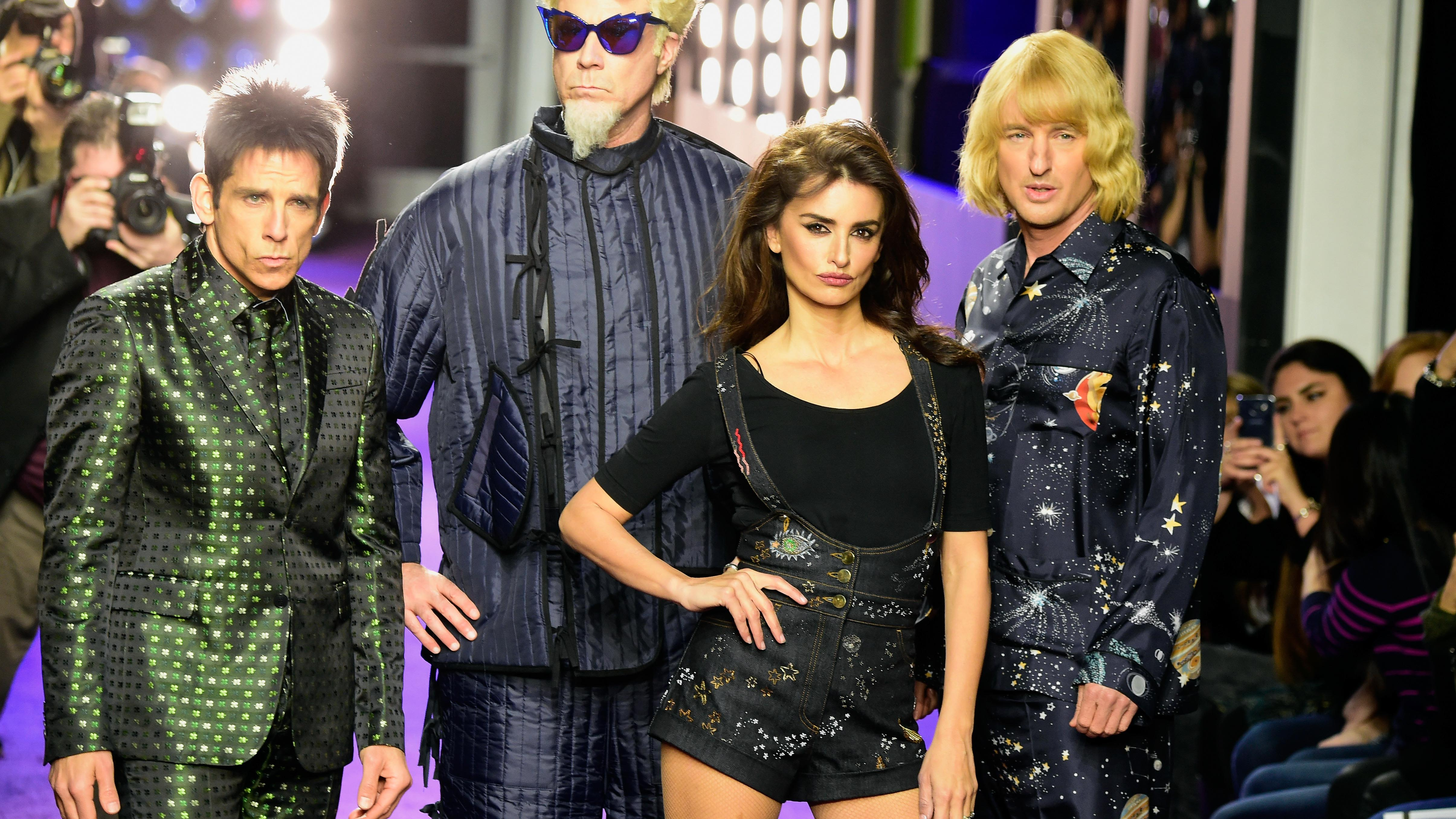 "NEW YORK, NY - FEBRUARY 09:  (L-R) Actors Ben Stiller, Will Ferrell, Penelope Cruz and  Owen Wilson walk the runway during the ""Zoolander No. 2"" World Premiere at Alice Tully Hall on February 9, 2016 in New York City.  (Photo by Frazer Harrison/Getty Images for Paramount) *** Local Caption *** Penelope Cruz;Ben Stiller;Owen Wilson;Will Ferrell"